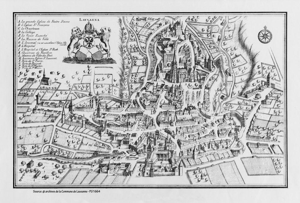 Carte Lausanne en 1674